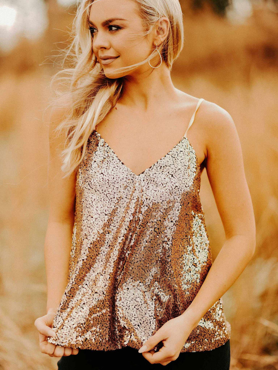 Adjustable Strap Sequin Tank - Gold-Southern Fried Chics