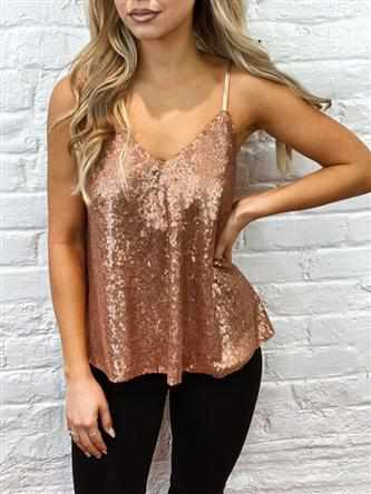 Adjustable Strap Sequin Tank - Rose Gold-Southern Fried Chics