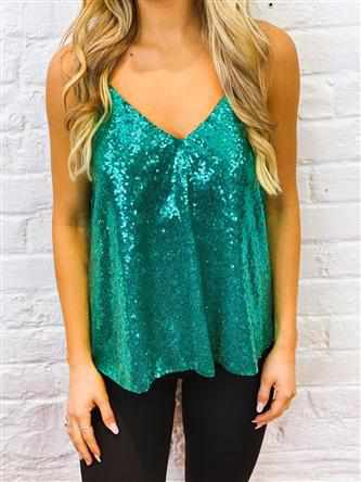 Adjustable Strap Sequin Tank - Teal-Southern Fried Chics