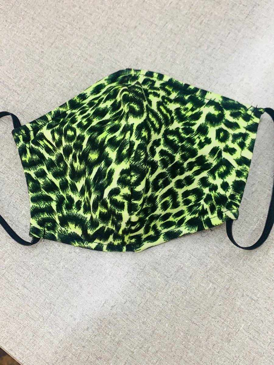 Adult Mask - Lime Leopard-Southern Fried Chics