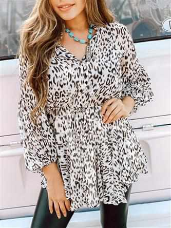 Animal Print Balloon Sleeve Dress-Southern Fried Chics