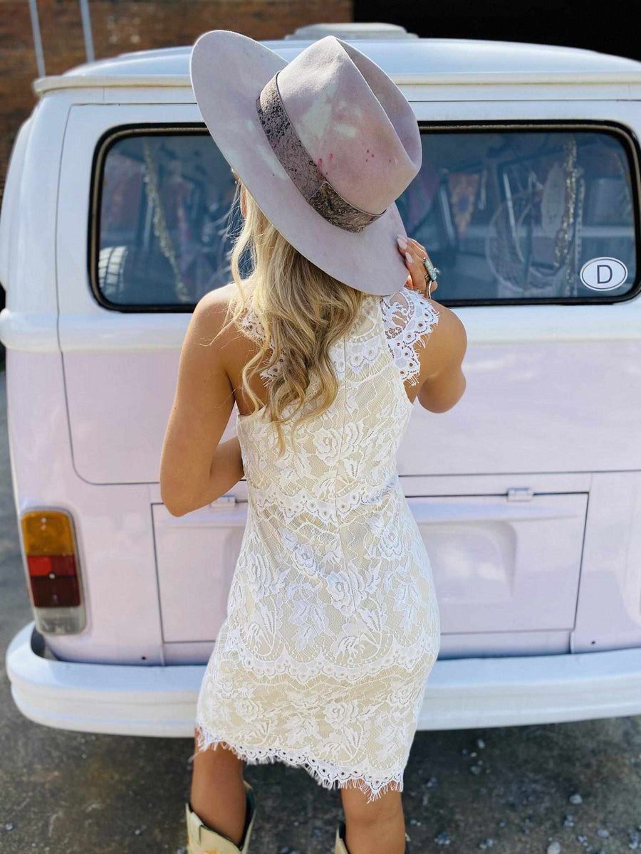 April Showers Lace Dress - Ivory-Southern Fried Chics