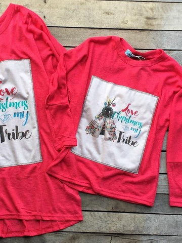 Children's Love Christmas With My Tribe Top By Southern Grace - Red