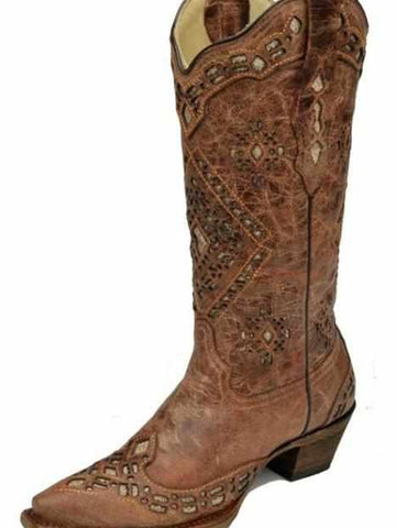 Glitter Cognac Inlay Boot by Corral