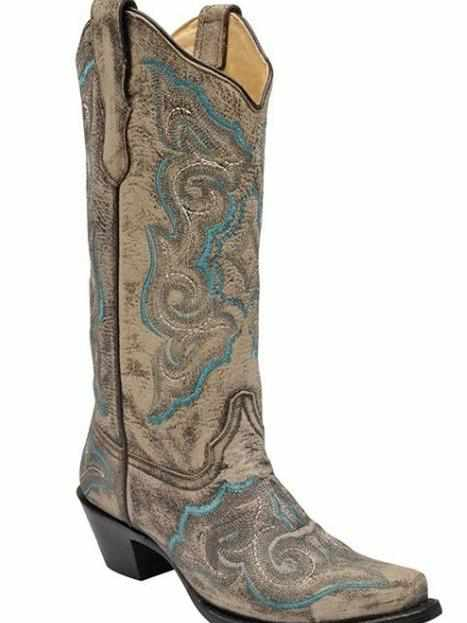 Distressed Brown Turquiose Embroidery - Boots by Corral