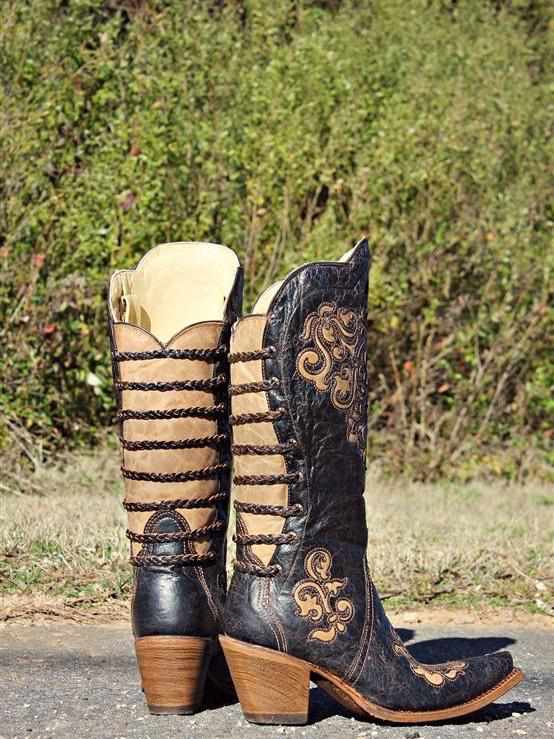 Black - Bone Inlay Back Straps Boot by Corral