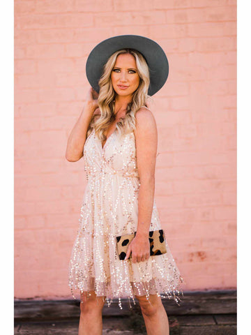 Champagne Daze Sequin Dress - Gold-Southern Fried Chics