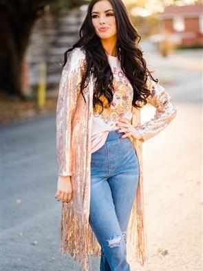 Chasing Dreams Fringe Sequin Duster - Rose Gold-Southern Fried Chics