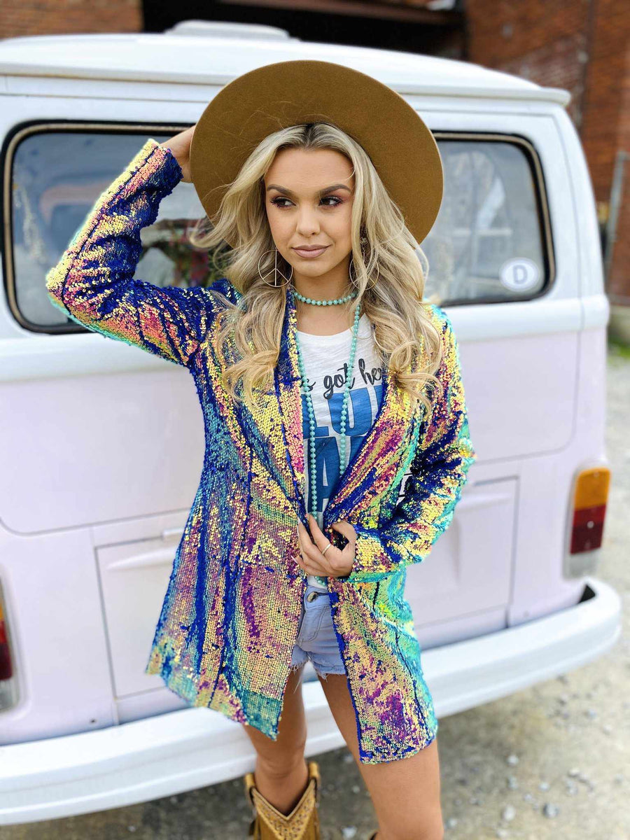 Cosmic Cowgirl Sequin Blazer-Southern Fried Chics