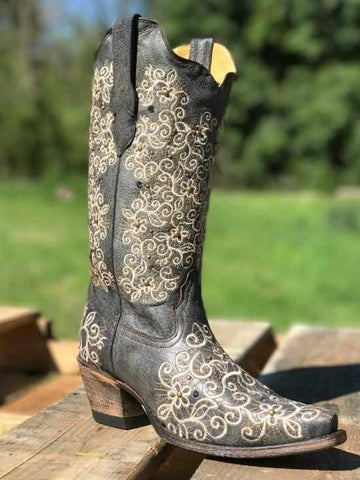 Grey Embroidery & Studs Boot By Corral