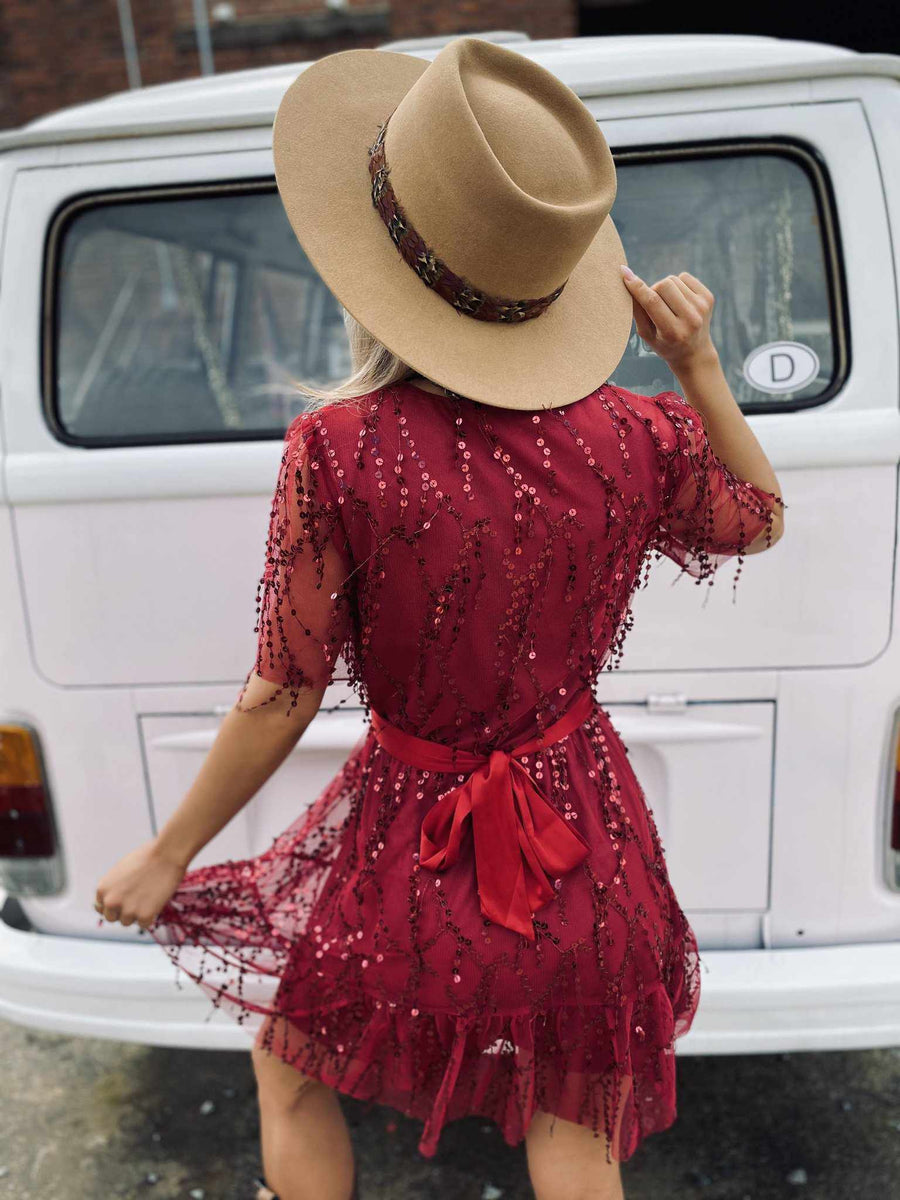 Dancing On My Own Sequin Dress - Wine-Southern Fried Chics