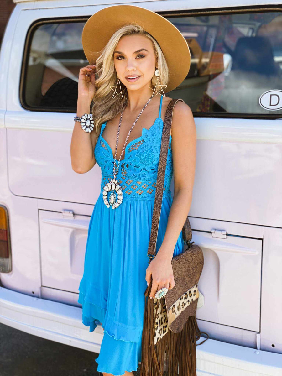 Double The Love Dress - Neon Blue-Southern Fried Chics