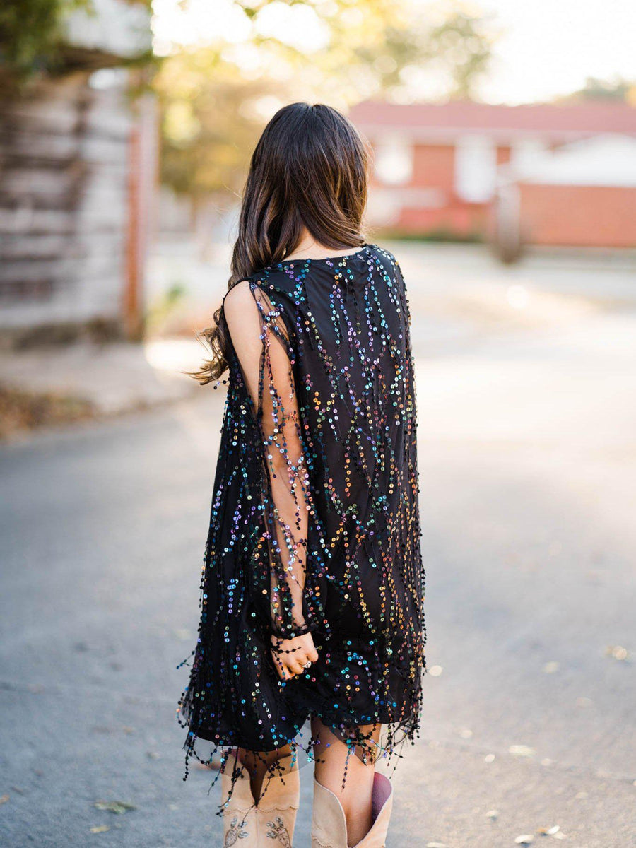 Electric Feel Sequin Shimmy Dress - Mystic Black-Southern Fried Chics