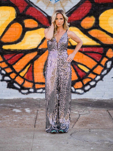 Electric Rodeo Sequin Jumpsuit-Southern Fried Chics