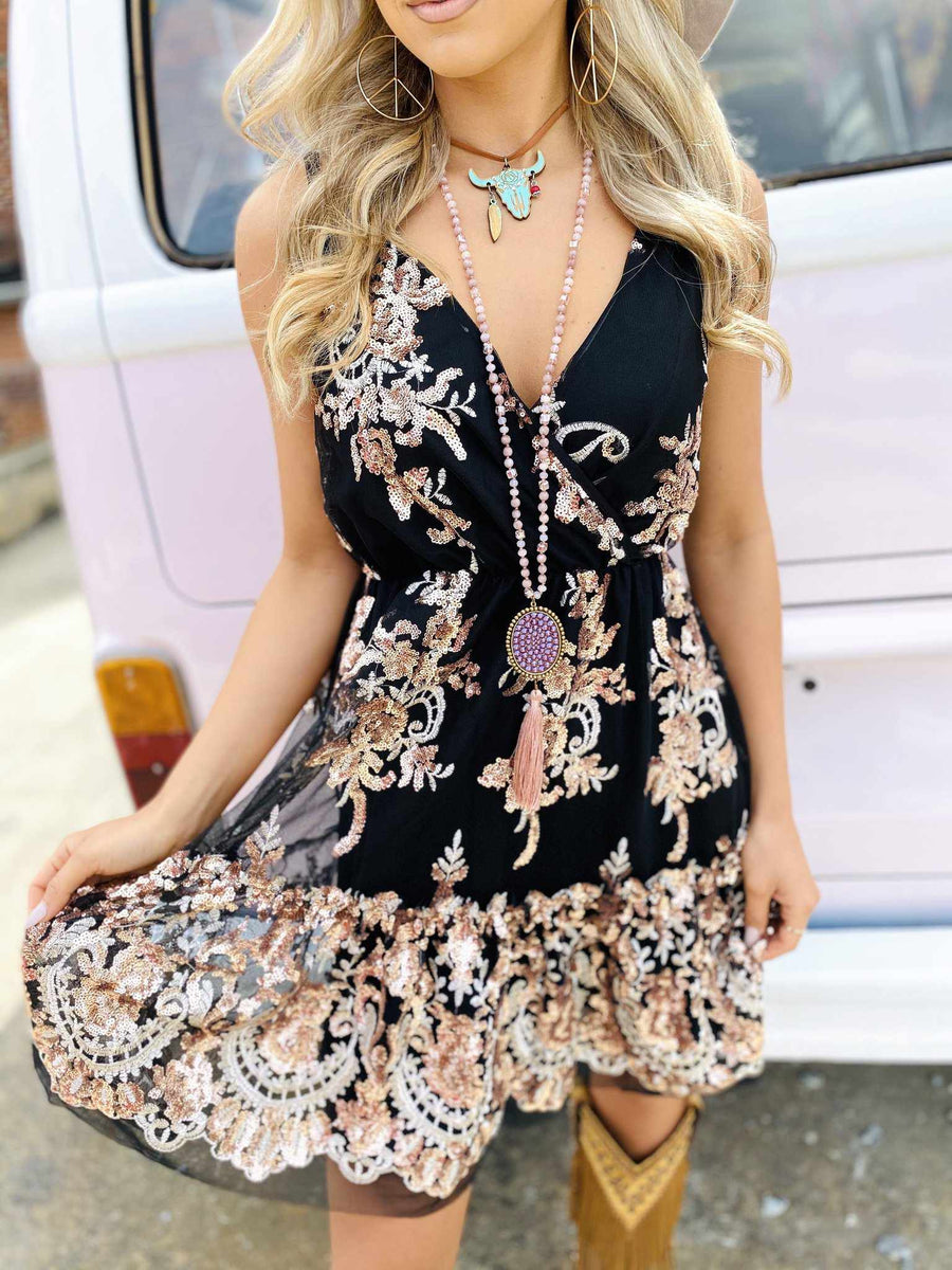 Enchanted Nights Sequin Party Dress-Southern Fried Chics