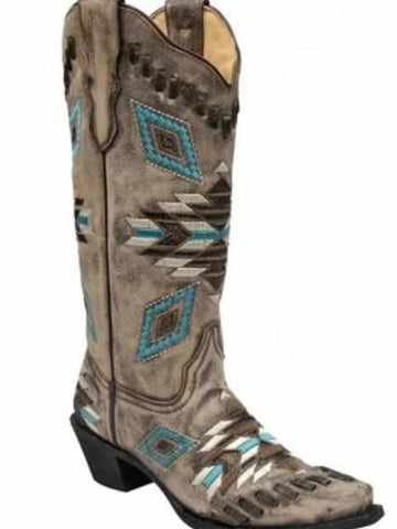 Distressed Brown Aztec Pattern & Woven Details - Boots by Corral