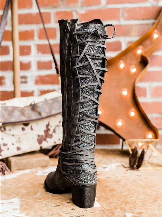 Laced and Loaded Adjustable Calf Riding Boots - Grey (PRE-ORDER)