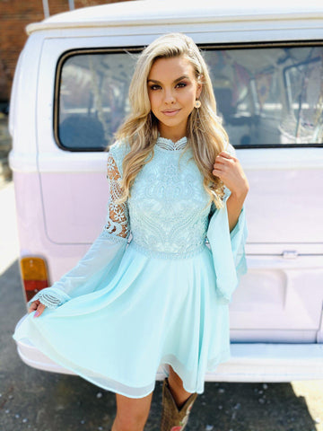 Fairy Bell Sleeve Dress - Mint-Southern Fried Chics