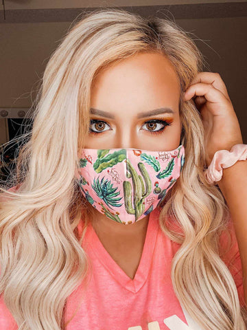 Filtered Adjustable Adult Mask - Cactus-Southern Fried Chics