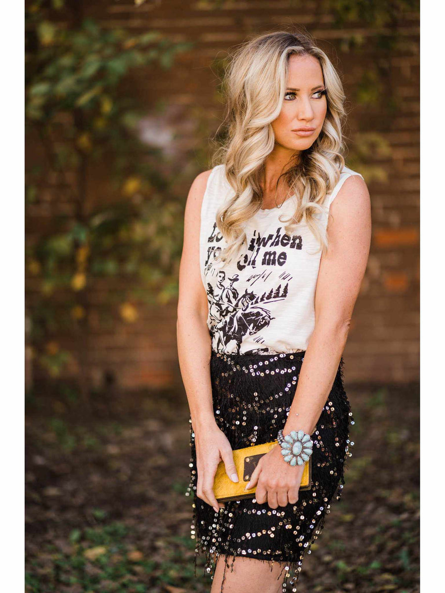 Fuzzy Gold Sequin Skirt - Black-Southern Fried Chics