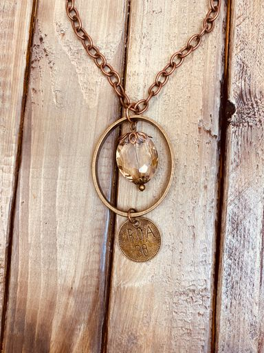 Oval Pendant Necklace with Glass & Coin Dangle-Southern Fried Chics