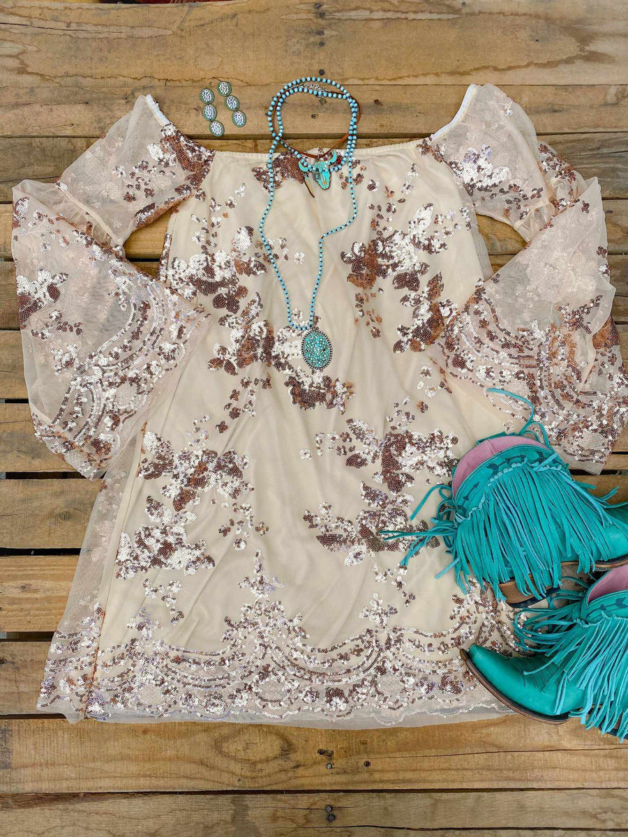 Golden Goddess Sequin Off Shoulder Dress-Southern Fried Chics