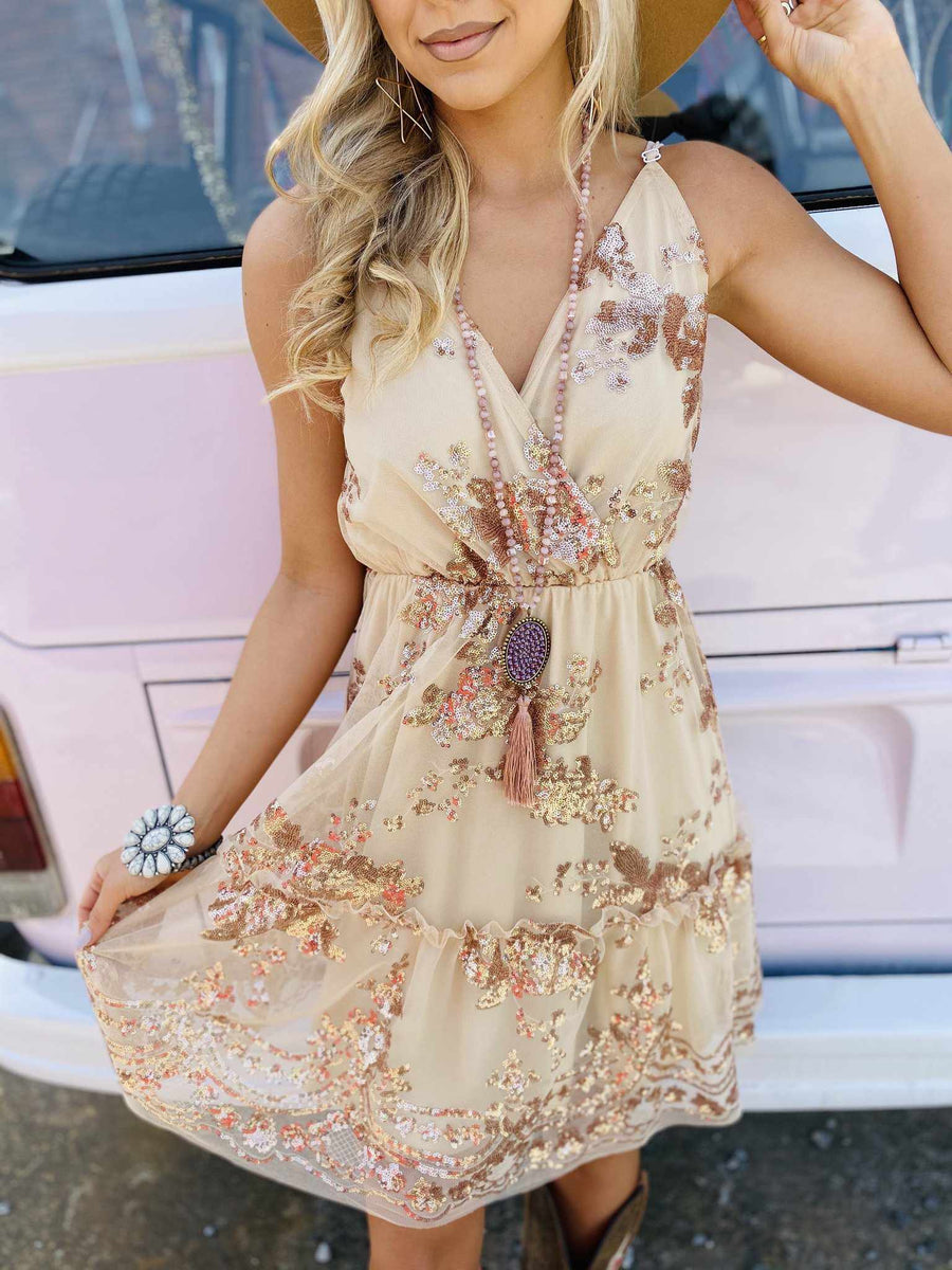 Golden Goddess Sequin Party Dress-Southern Fried Chics
