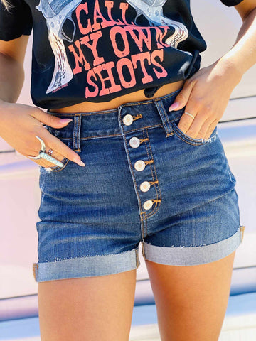 Hazel High Rise Button Down Shorts-Southern Fried Chics