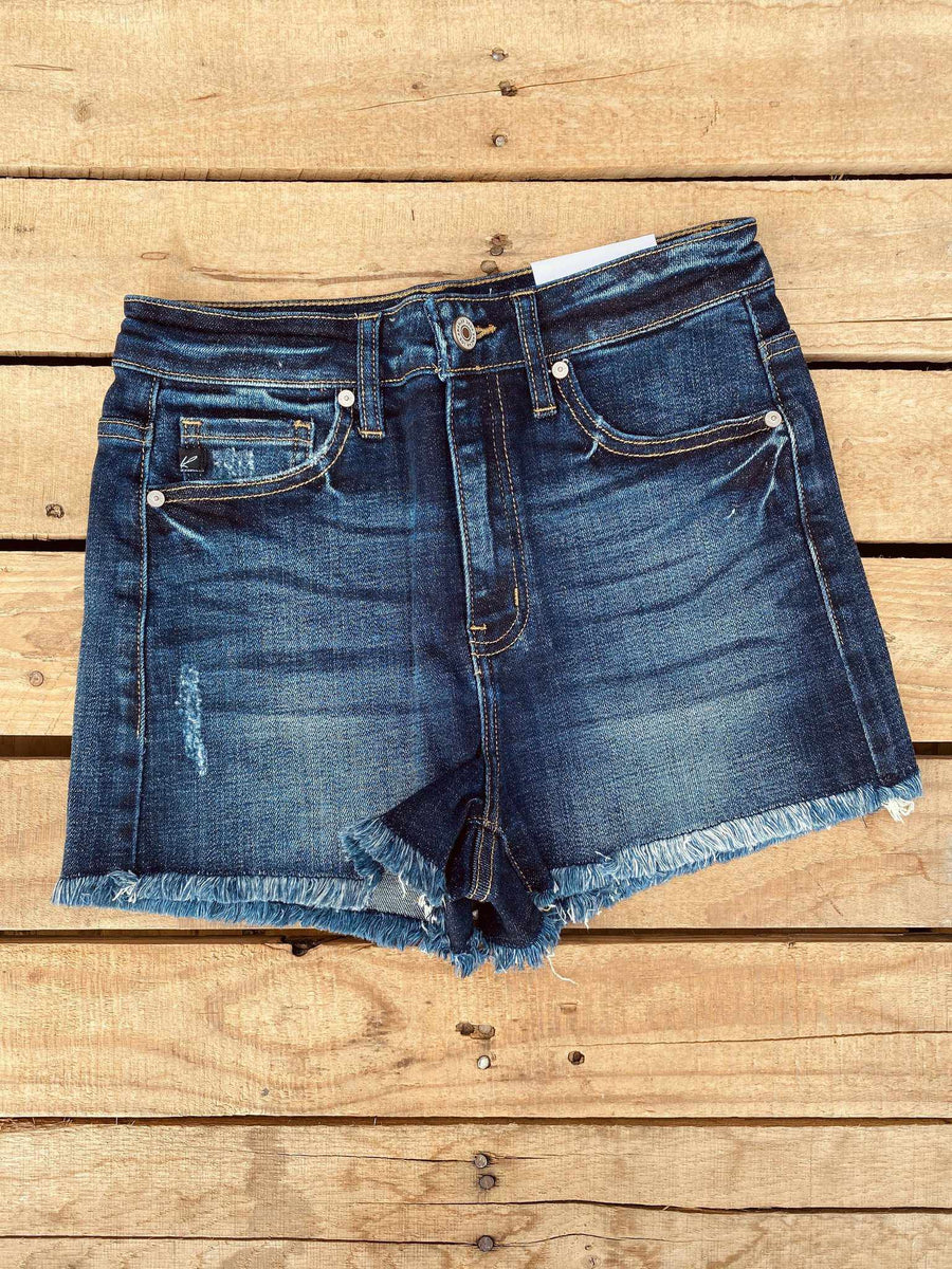 Hazel High Rise Shorts - Dark Denim-Southern Fried Chics