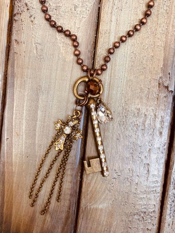 Ball Chain Necklace with Key Cluster Dangle