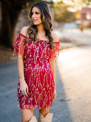 Hide the Wine Off Shoulder Sequin Dress - Burgundy-Southern Fried Chics