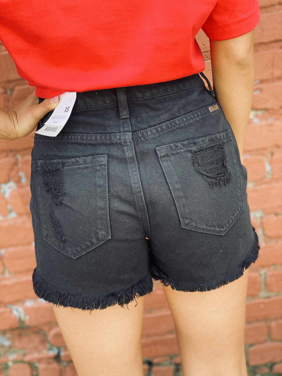 High Rise Shorts - Black-Southern Fried Chics
