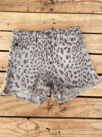 High Rise Shorts - Grey Leopard-Southern Fried Chics