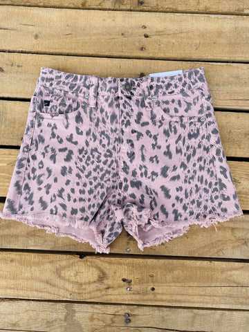High Rise Shorts - Pink Leopard-Southern Fried Chics