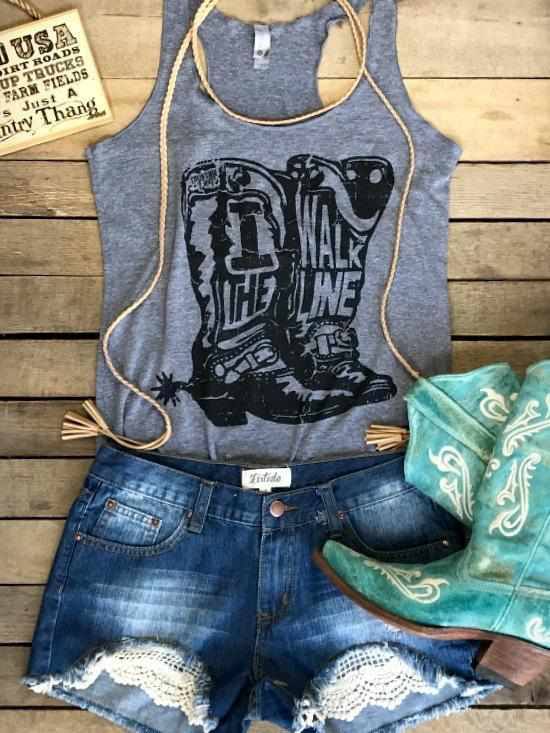 I Walk The Line Tank Top by Country Deep - Grey
