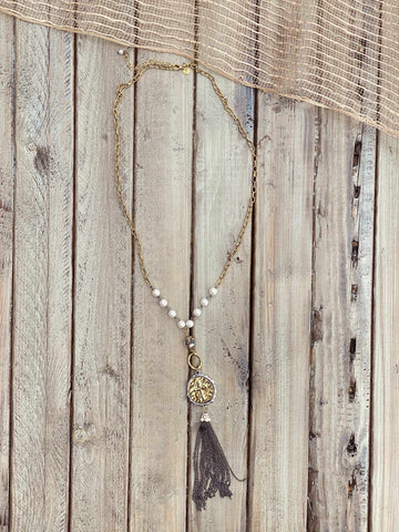 Beaded Necklace with Coin & Tassel Drop