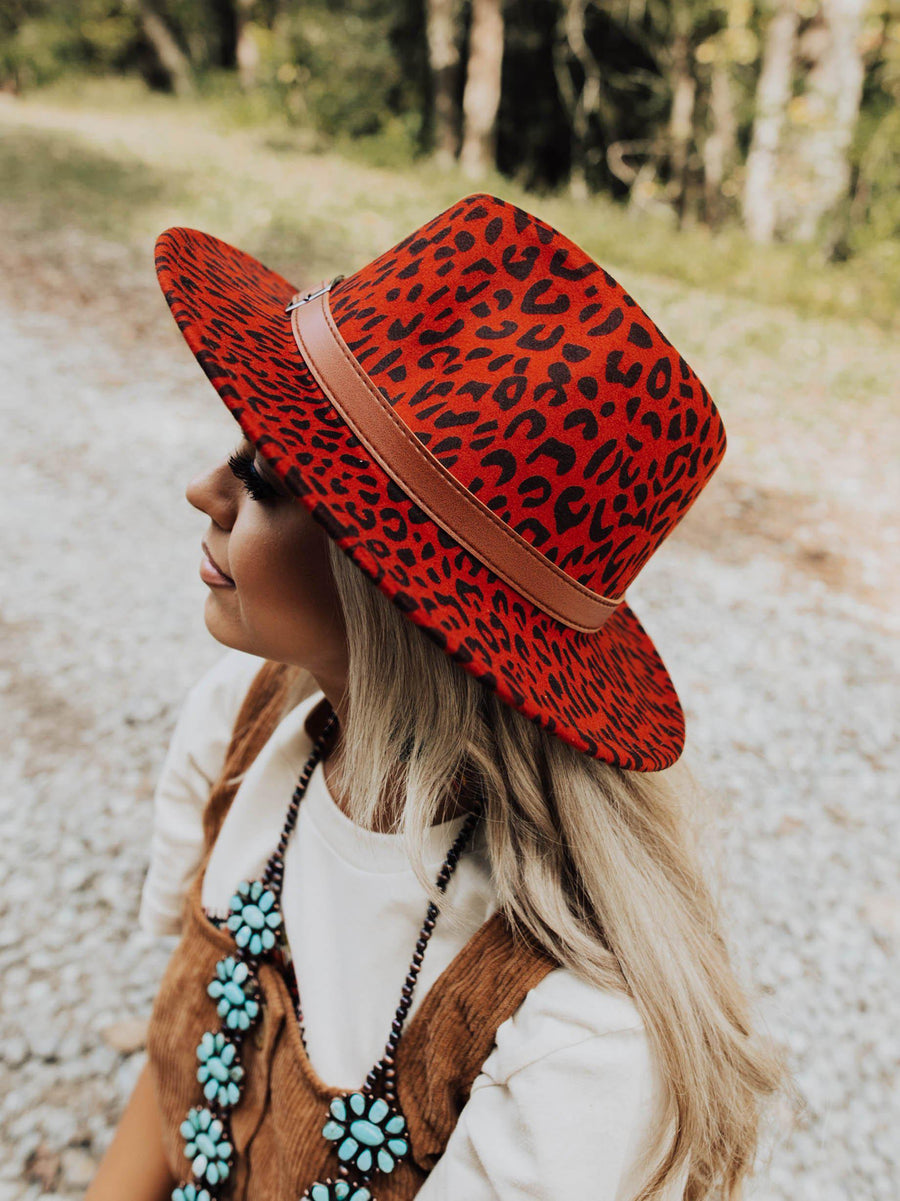 Rancher Red Leopard Felt Hat