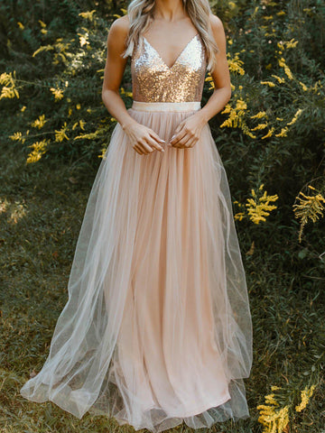 Sparkle In Sequins Tulle Dress - Rose Gold