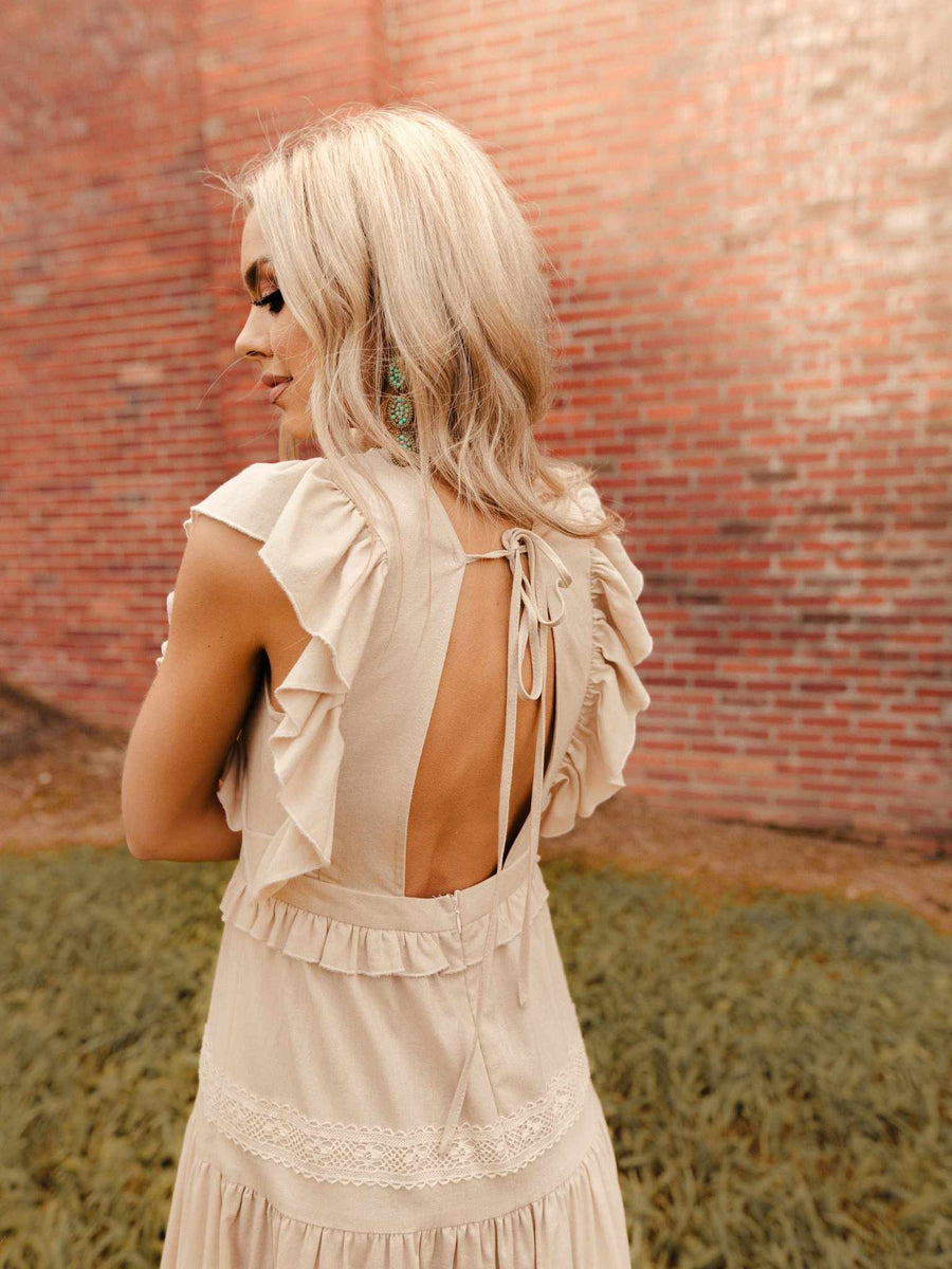 Forever Yours Midi Dress - Beige