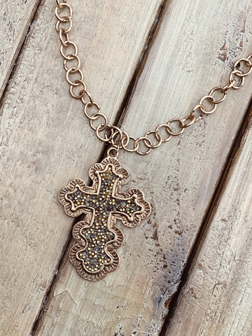 Mixed Chain Necklace with Glitter Cross