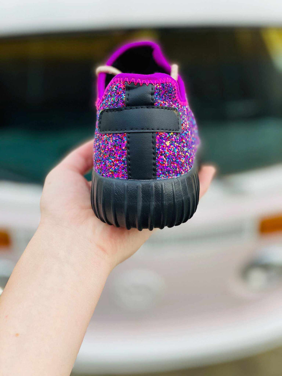 Glitter Bomb Sneakers - Fuchsia And Black-Sneaker-Southern Fried Chics