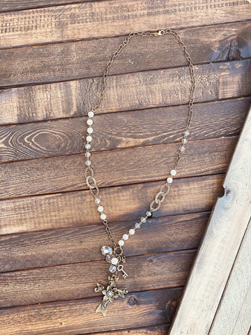 Pearl Chain and Cluster Dangle Necklace