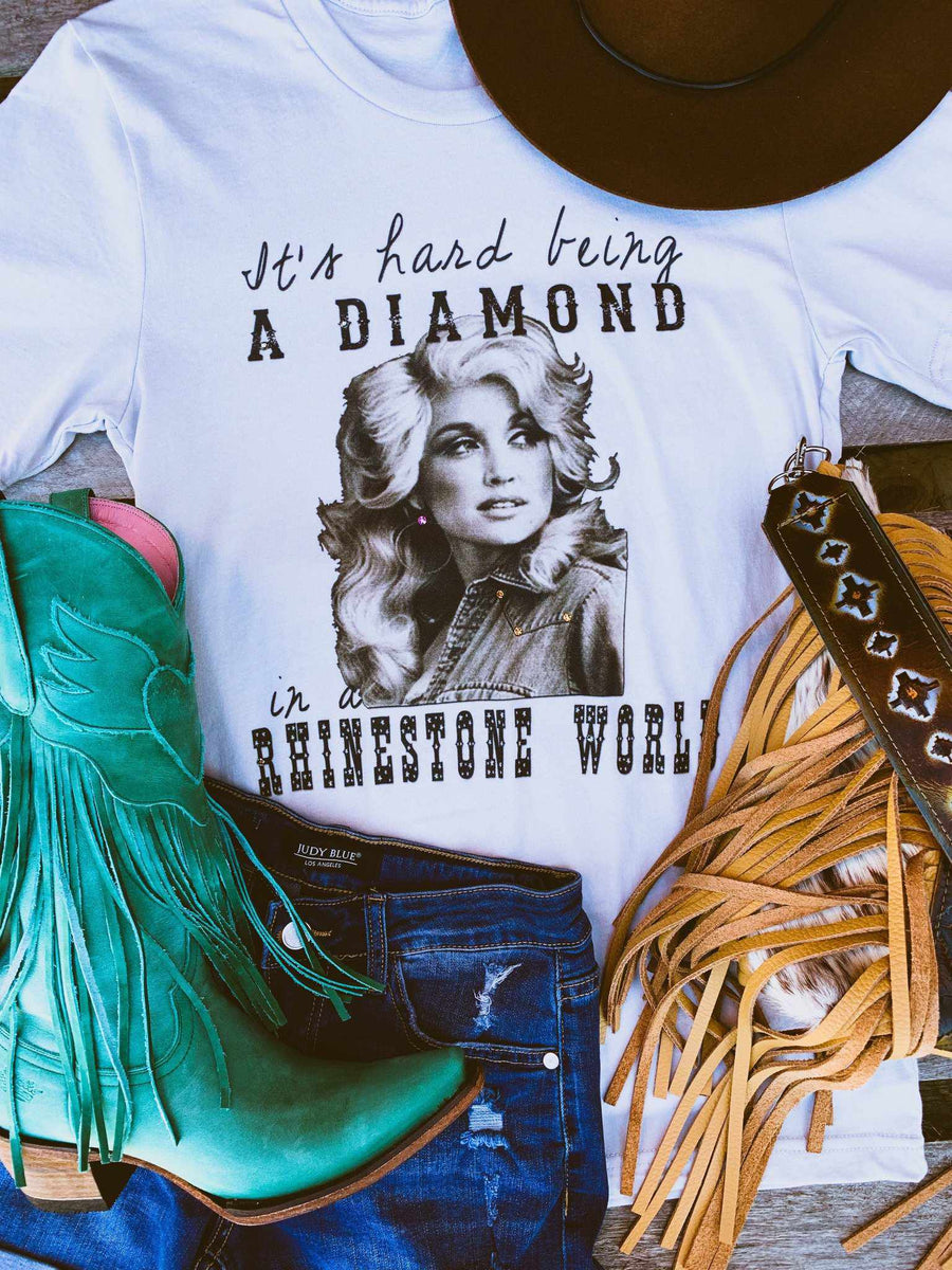 It's Hard Being a Diamond Tee - Grey-Southern Fried Chics