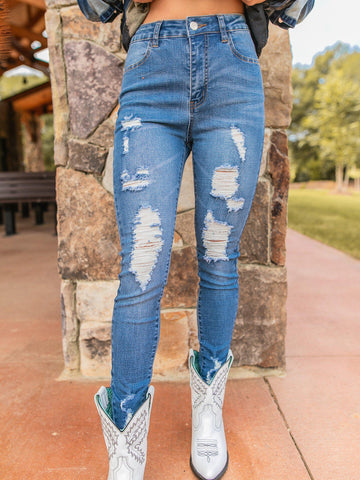 SFC Distressed Skinny Jean - Light-Jeans-Southern Fried Chics