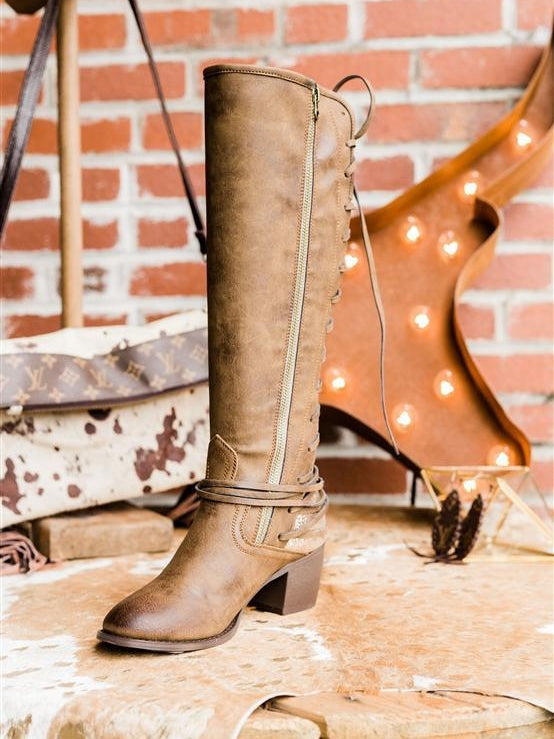 Laced and Loaded  Adjustable Calf Riding Boots - Brown (PRE-ORDER)