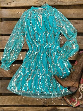 Lessons Learned Bohemian Sequin Dress - Mint-Southern Fried Chics