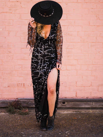 Miss Me Baby Sequin Dress - Black-Southern Fried Chics