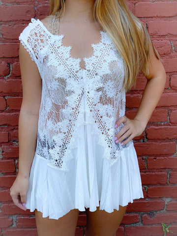 Modern Love Lace top - Off White-Southern Fried Chics