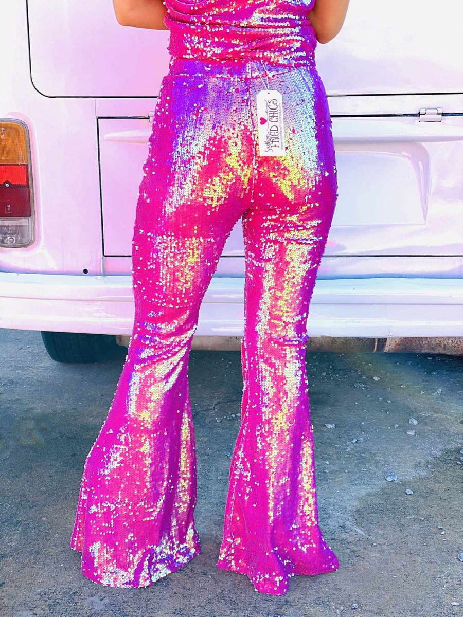 Neon Native Sequin Flare Pants-Southern Fried Chics
