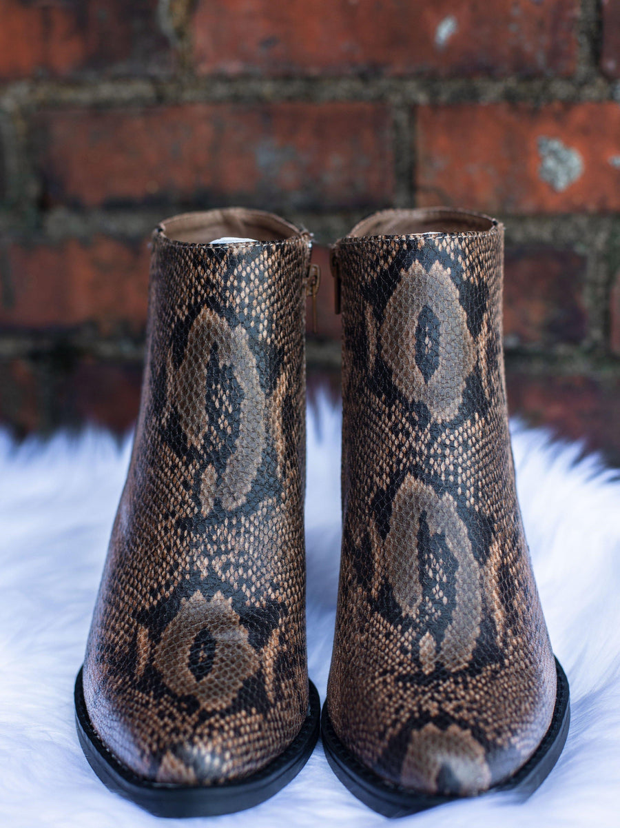 Snake Two Tone Tan Bootie-Booties-Southern Fried Chics
